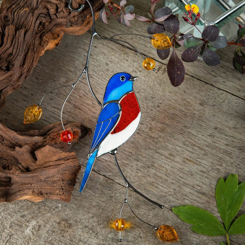Bluebird stained glass suncatcher Mothers Day gift