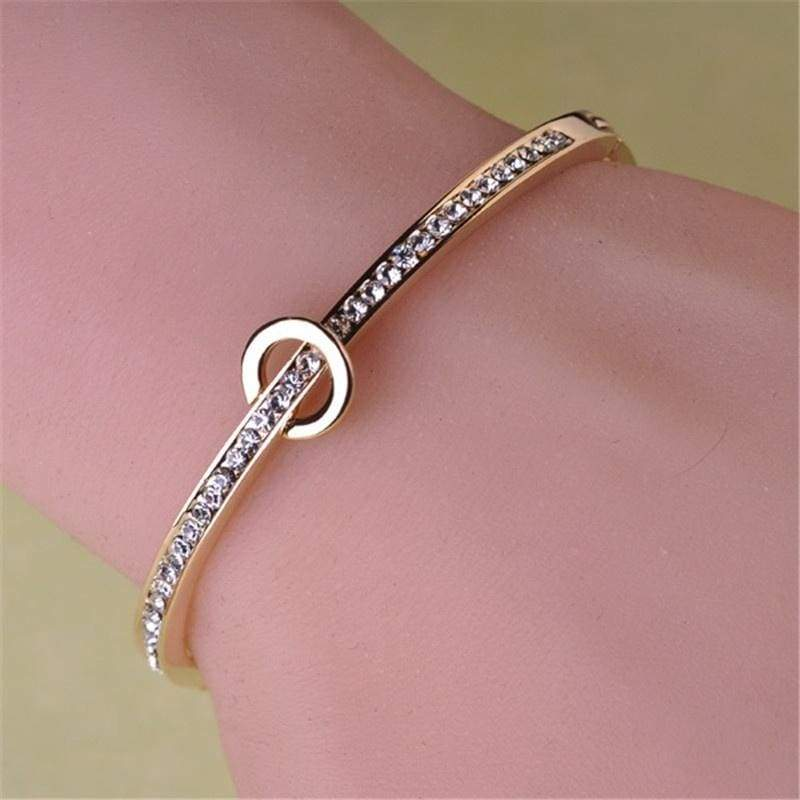 Hot Sales Circle Bracelet Jewerly Crystal Rhinestone Cuff Bangles For Women Ladies