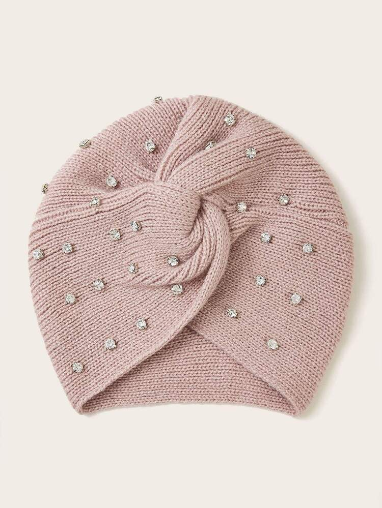 Rhinestone Decor Knit Turban Hat