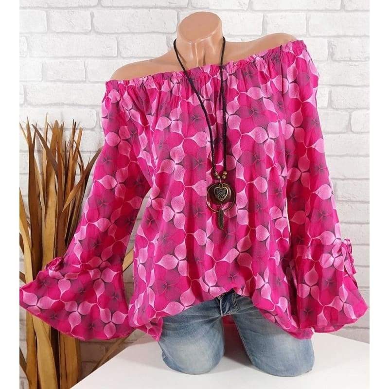 New Women's Fashion Print Long Sleeve Sexy Off Shoulder Tunic Top Blouse S-5XL