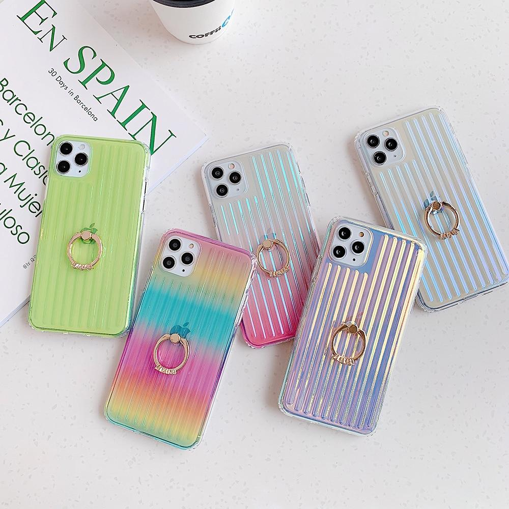 Colorful Clear Stripes Case + Ring Holder