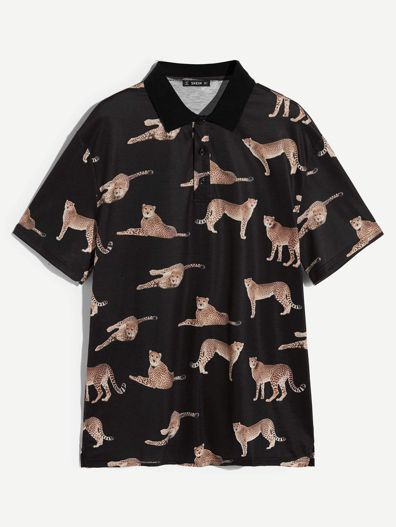 Men Allover Leopard Print Polo Shirt