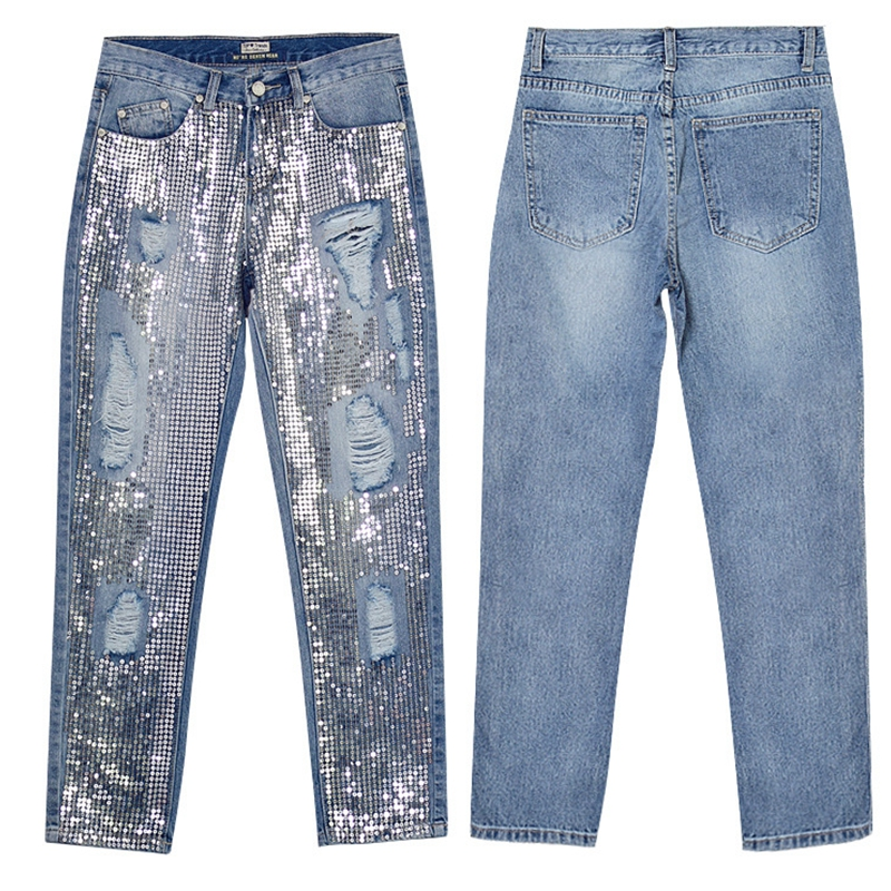 FREE SHIPPING-Women Sequins Loose Jeans