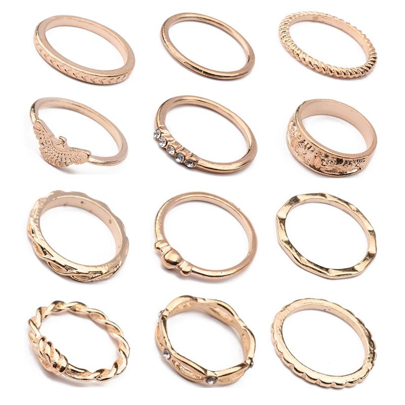 Winding Knotted Twist Line Carving 12 Sets of Rings