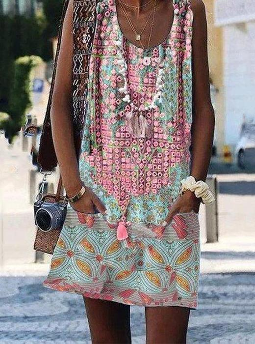 Crew Neck Casual Floral-Print Sleeveless Summer Shift Dresses