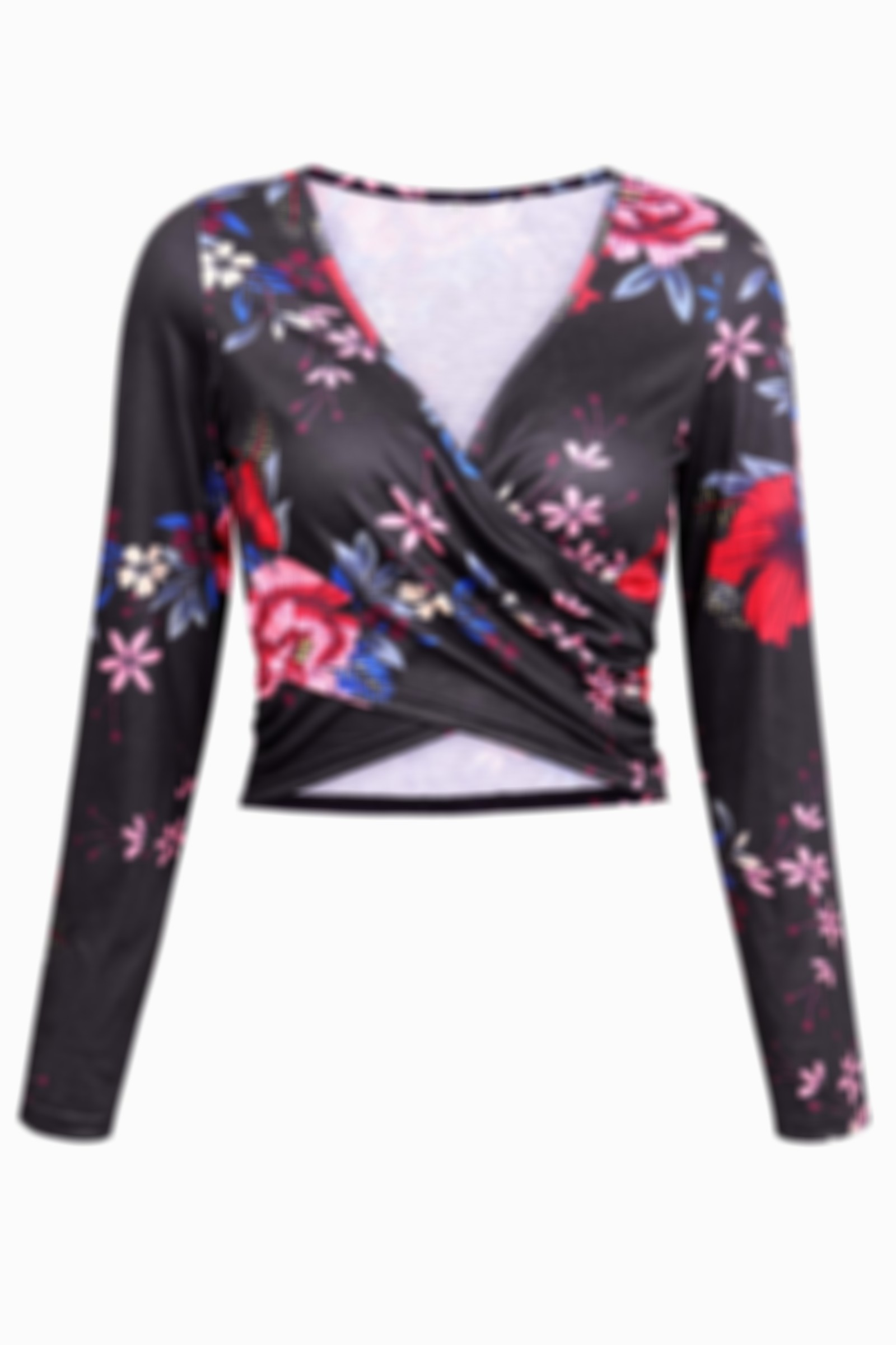 Rose Print V-Neck Cross Wrap Chest Long-Sleeved Umbilical Tight Top