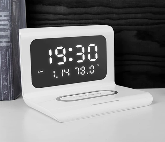 Wireless Phone Charger with LED Alarm Clock and Digital Thermometer