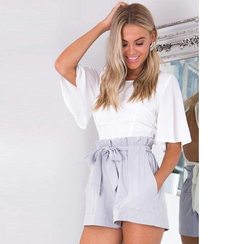 New Summer Women Pure Color Casual Loose High Waist Strappy Short Pants Beach Shorts