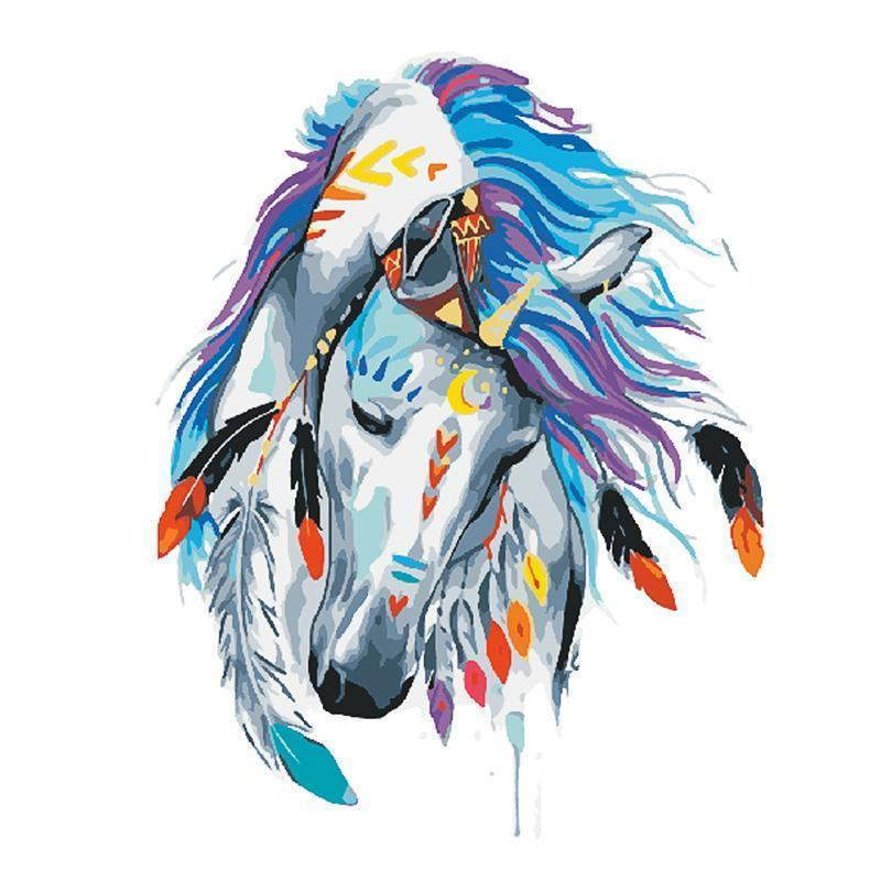 DIY Painting By Numbers -Colorful Horse (16