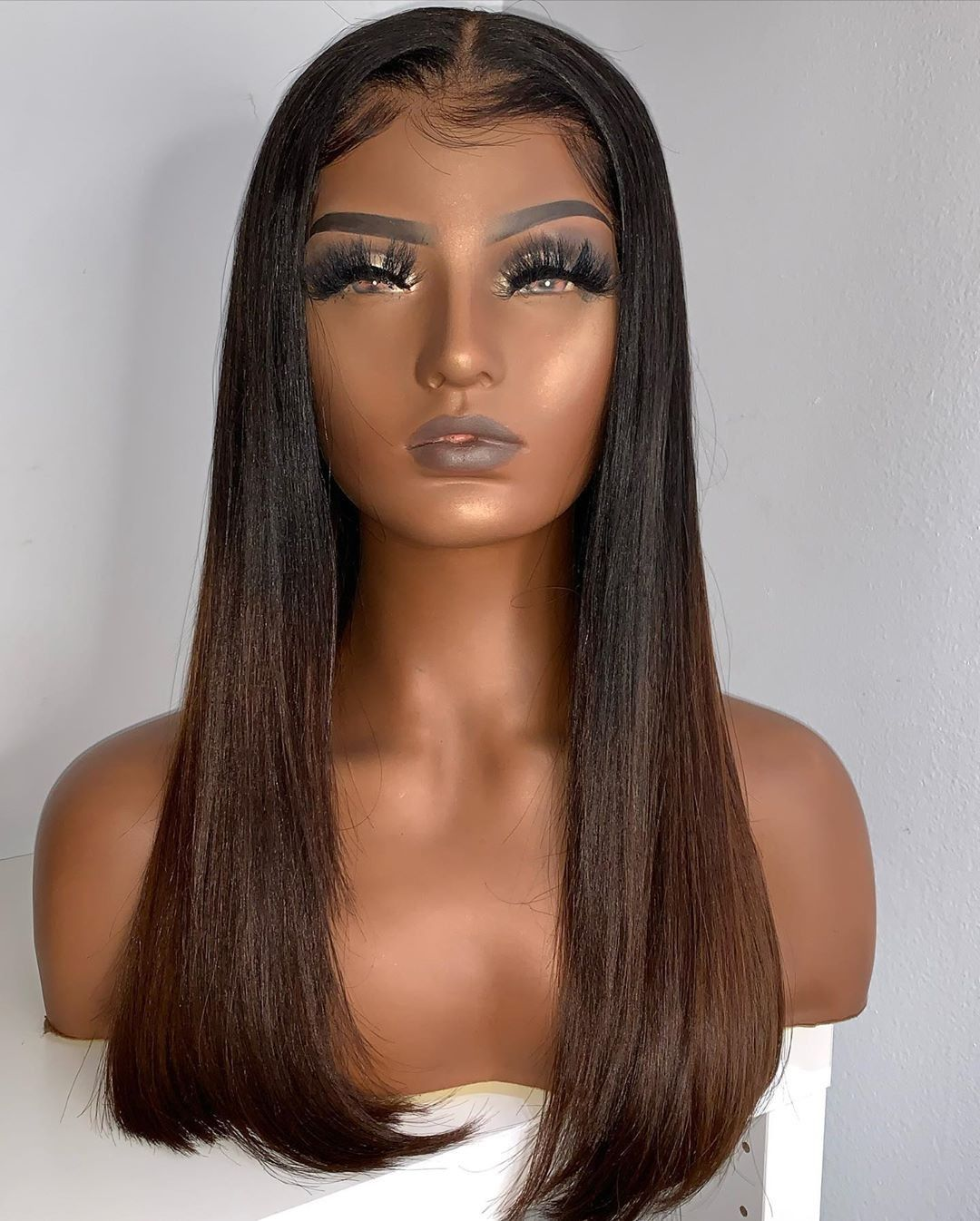 Straight Wigs Lace Front Yaki Hair Wig Middle Part Straight Hair Weave Black Pigtail Wig With Bangs Pink Straight Hair