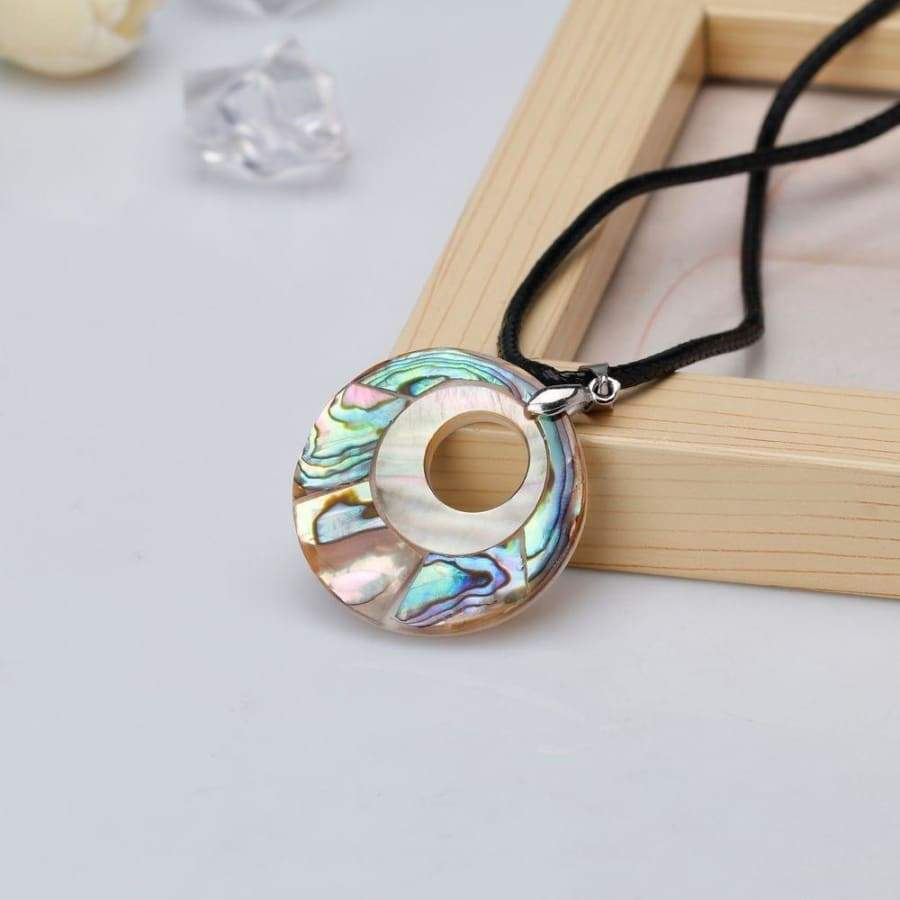 Sweater Chain Charm Reiki Jewelry Ethnic Style Geometric Rope Chain Abalone Shell Pendant Necklace Natural Round Shaped