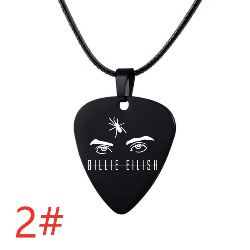 Rapper Billie Eilish Peripheral Sign Hanging Pure Stainless Steel Necklace Hip-hop Necklace Guitar pick