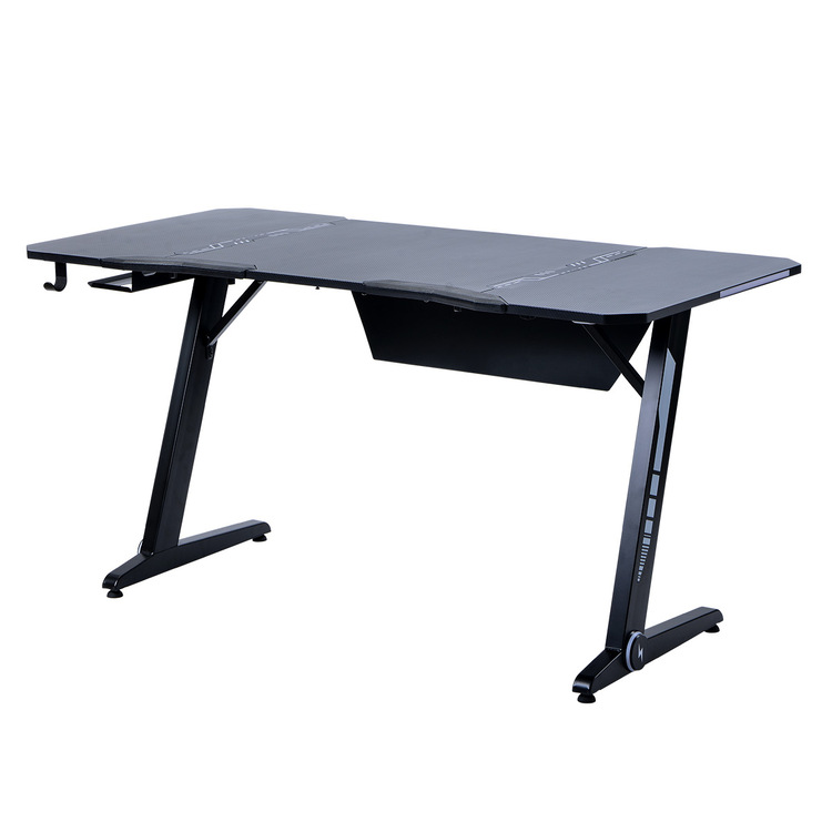 Home Office Gaming Desk Pro- Z Shaped PC Computer Table for Gamer Pro, Gaming Desks Workstation with RGB LED Lights,Headphone Hook and adjustable Pads