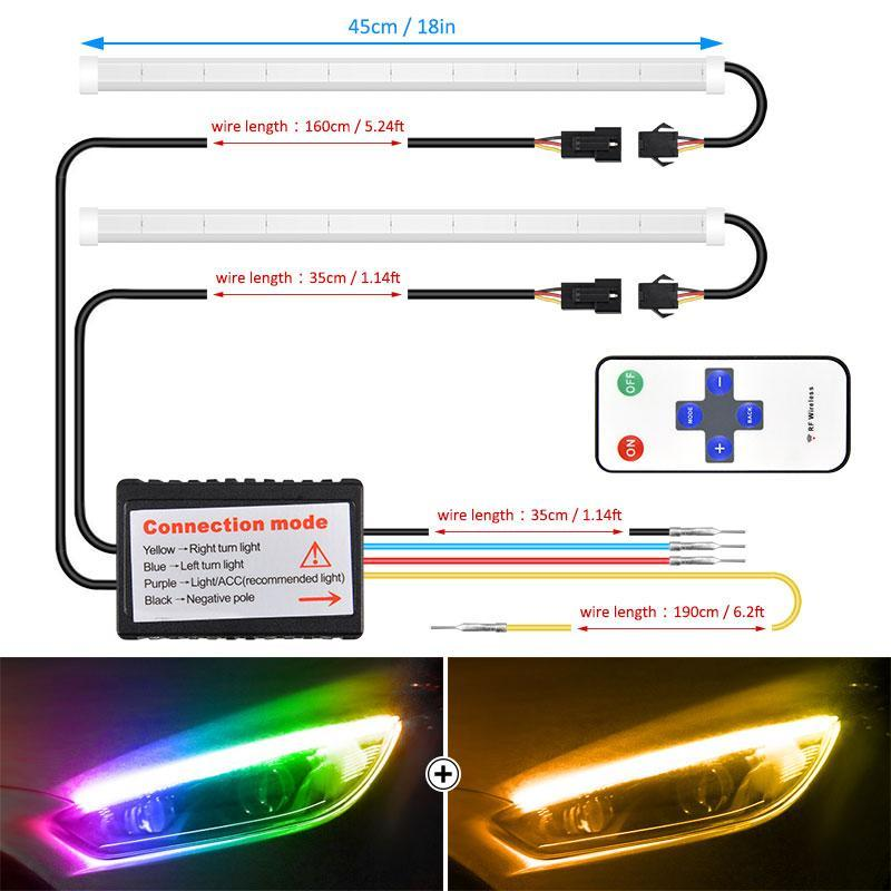CarFitg™ Million Color Remote Control RF Daytime Running Lights 1 Pair