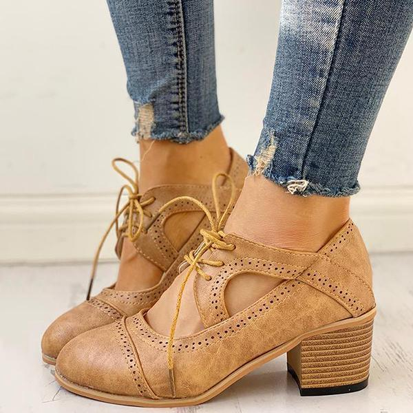 Lemmikshoes Lace-Up Cut Out Chunky Heels