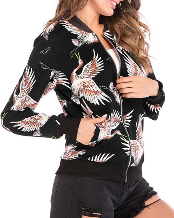 Woman Print Autumn Jackets