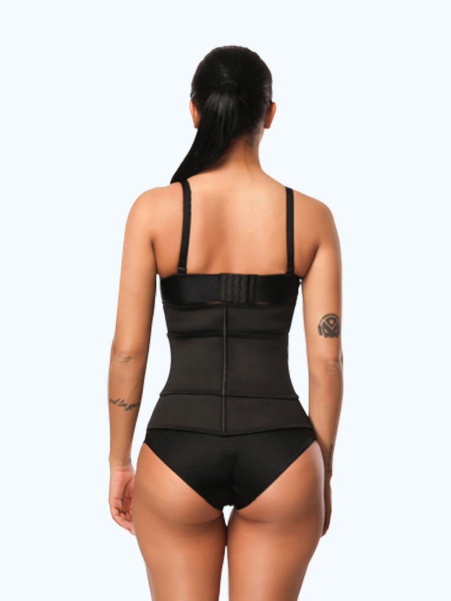 okiwilldo Zipper Hook Black Latex Waist Shaper
