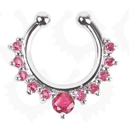 5PCS/SET Crystal Fake Septum Nose Ring Piercing Clip On Nostril Sexy Fake Hoop Nose Stud Clip Ring For Women Body Jewelry
