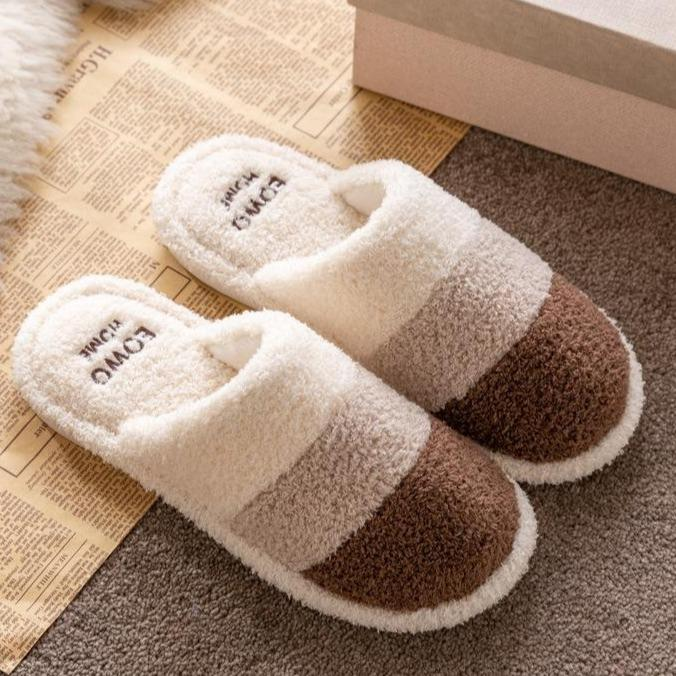 Unisex couple winter slippers color stripe furry warm house shoes with arch support
