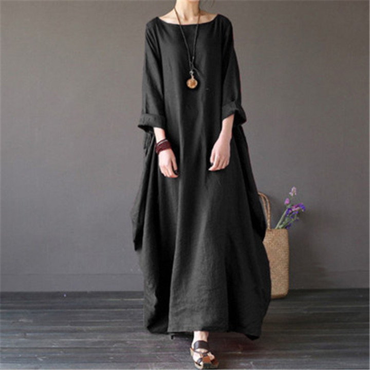 Women's Loose Large Size Solid Dress