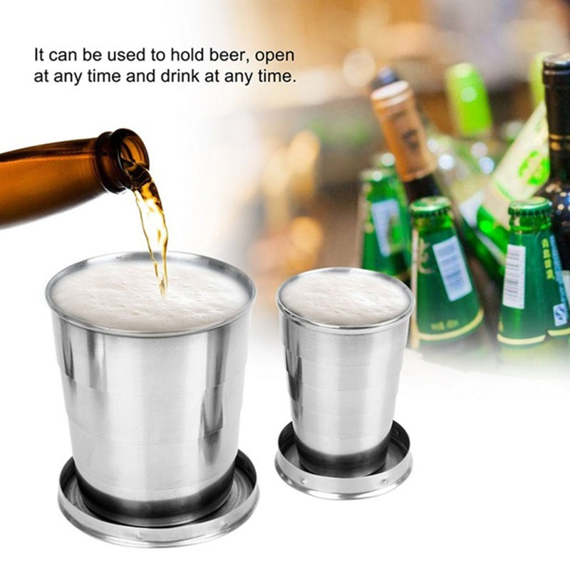 75/140/240ml Stainless Steel Camping Folding Cup Portable Outdoor Travel Demountable Collapsible Cup With Keychain