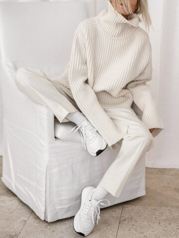 Simple Casual Loose High Neck Long Sleeve Pants Knit Suit