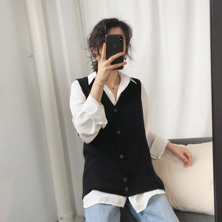 Thin Slim Knit Vest With Large Cuffs, Joker, Simple Anti-pilling, Core Yarn, Pure Color Sleeveless Cardigan Jacket