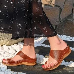 Ladies with hollowed-out toe wedge slippers