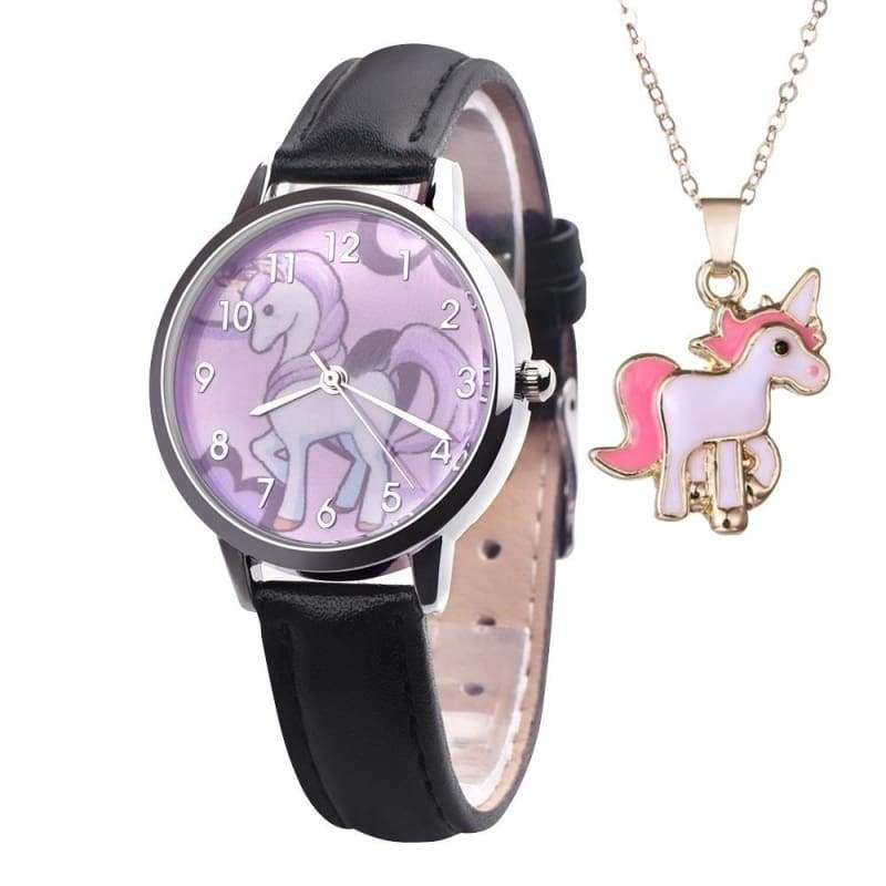 Fashion 2019 Children watches Boys Girls Leather Watches Analog Alloy Quartz Watch Horse Clock Free Necklace Pendants Christmas Gift for kids