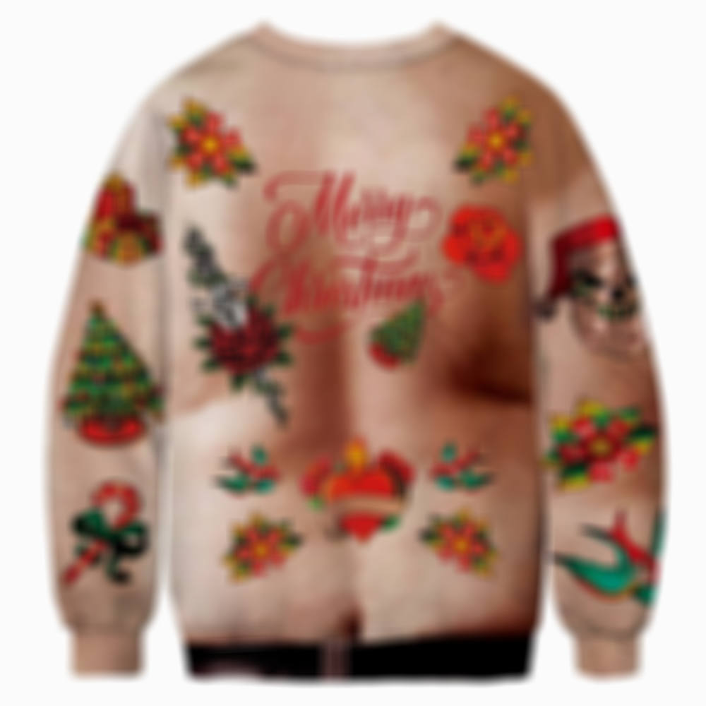 Man with Big Belly And Hair Christmas Ugly Sweatshirt