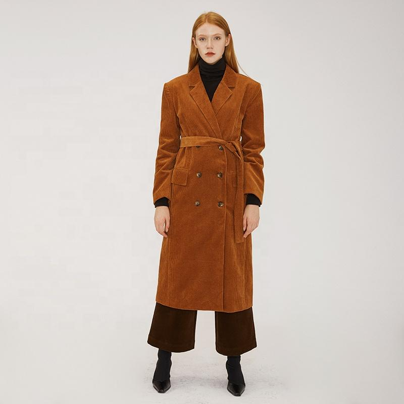 neutral cool style double breasted modern vintage fashion casual corduroy women warm long suit fall apparel-Casual Windbreaker 2.11