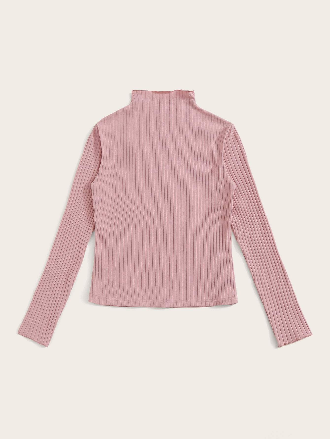 SHEINMock Neck Rib-knit Form Fitted Top