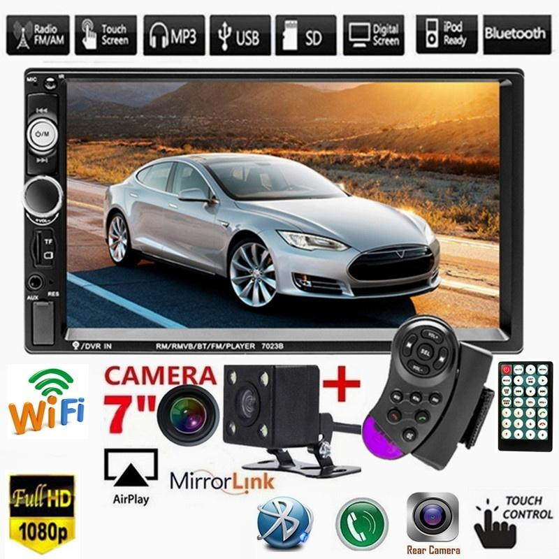 7' inch HD Bluetooth Touch Screen Double 2DIN Car Stereo Radio MP5 Player HD FM/USB/AUX RC SD Function with steering wheel control