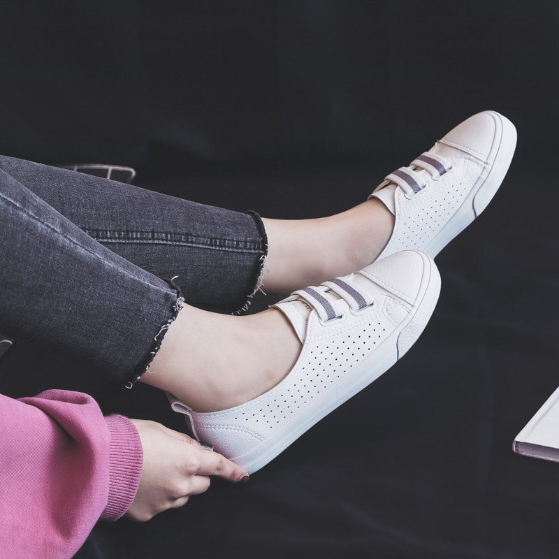 Woman Shoes Summer New Fashion Shoes Woman Casual Microfiber Leather Simple Women Casual Striped Shoes Sneakers Breathable