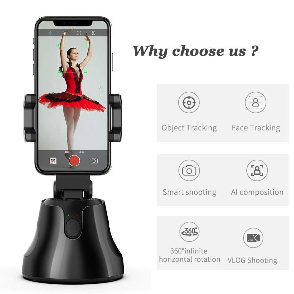 360 Rotation Auto Face Tracking Smart Capture Selfie Sticks Phone Holder
