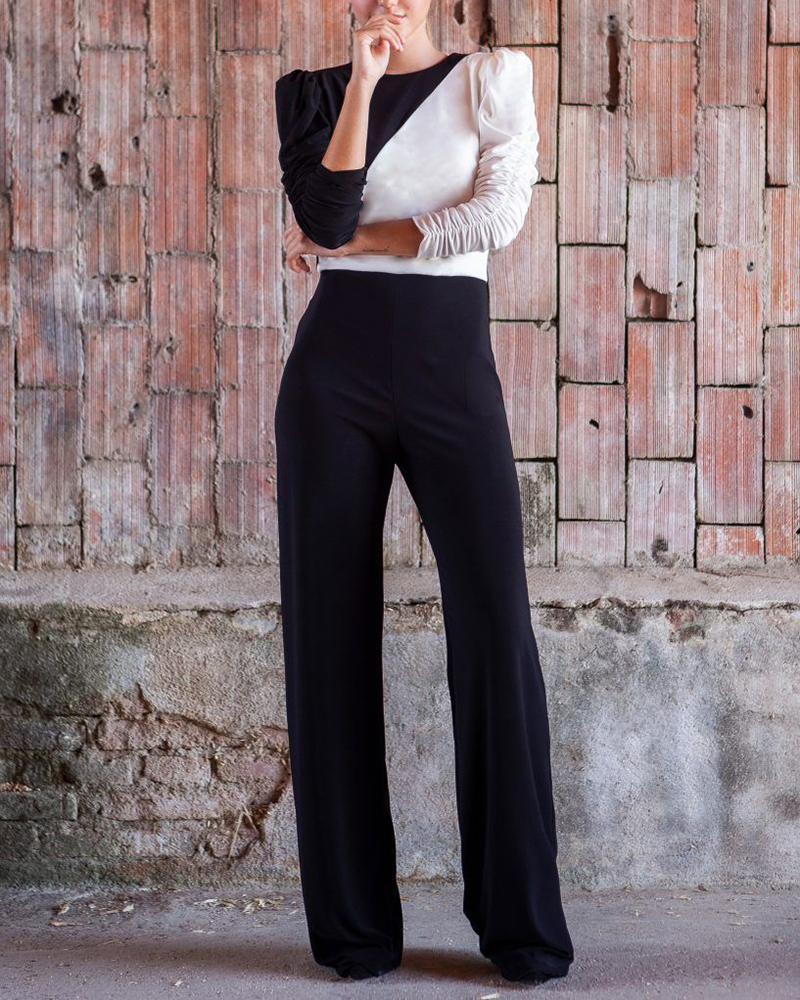 Sexy Long-sleeved Color-block Jumpsuit