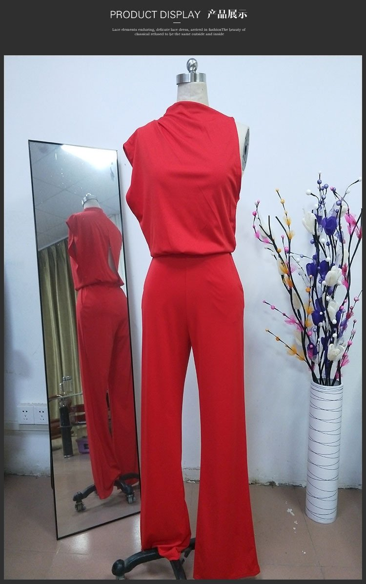 Women Commuting Asymmetry Sleeve Pure Colour Jumpsuit