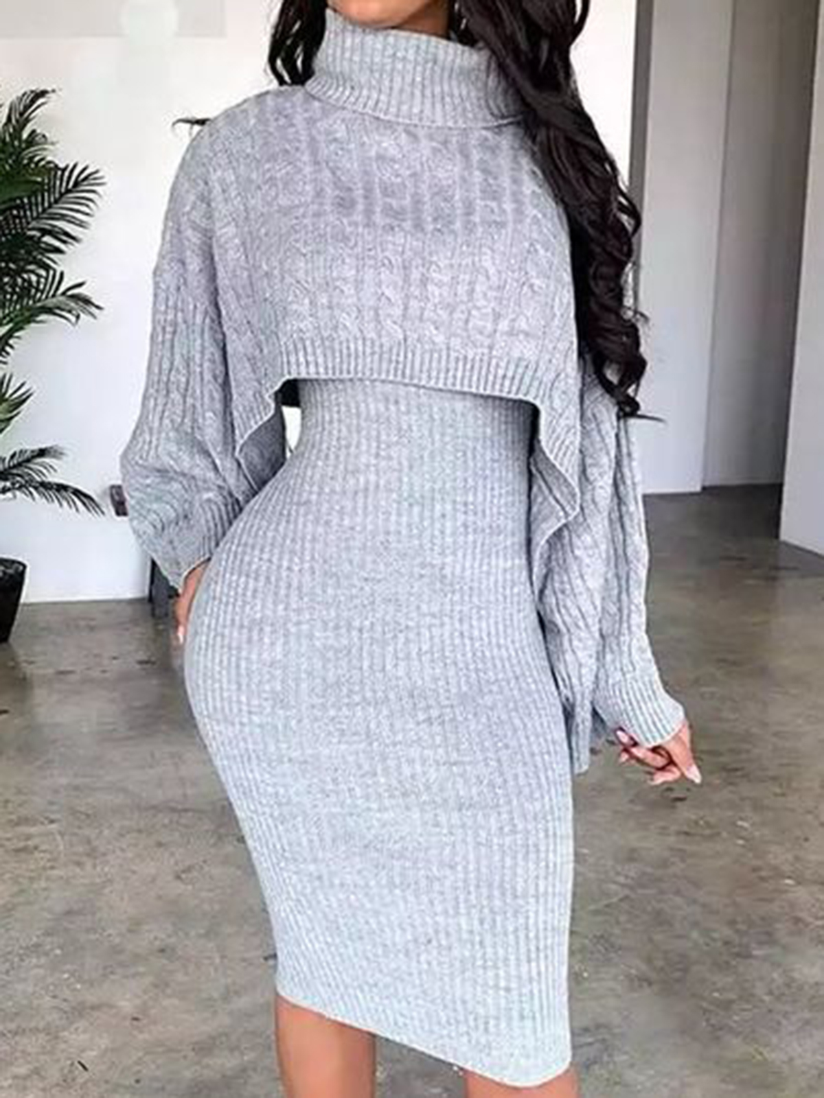 Slim high neck fake two-piece sweater dress