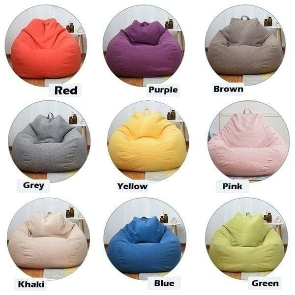 New Solid Color Bean Bag Sofa Cover Chairs Pouf Puff Couch  Seat Bean Bag Without Filling Beanbag Sofas Lounger Chair Sofa Cotton Chair Cover Only Cover