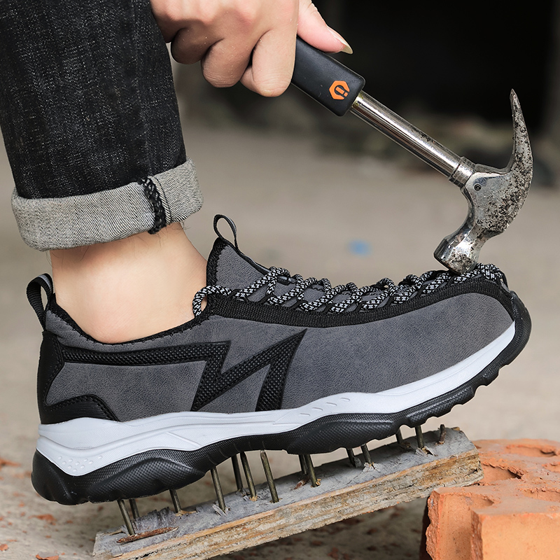 Mens Steel Toe Safety Shoes Work Shoes For Men lightweight Breathable Anti-Smashing Non-Slip Construction Work Sneakers
