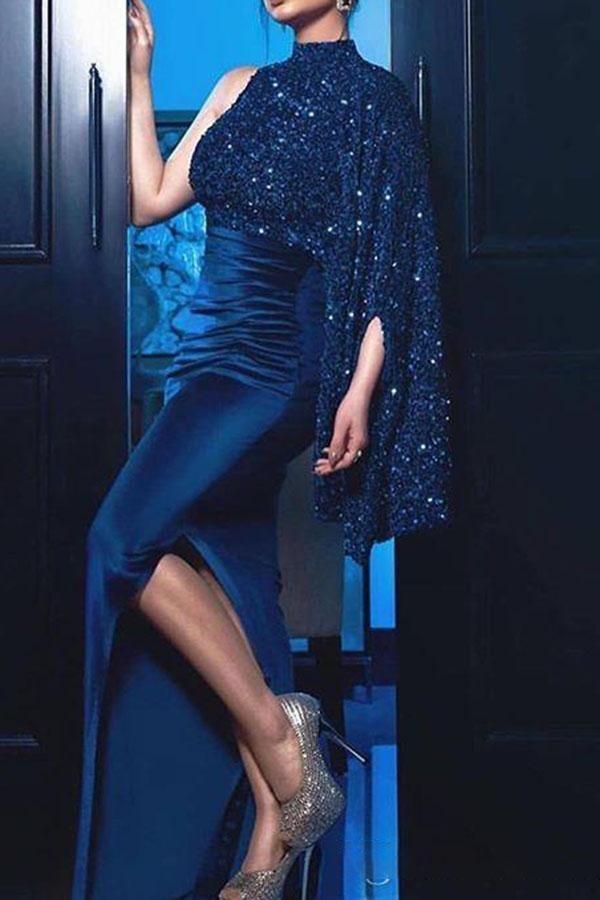 Solid Sequined Maxi Dress
