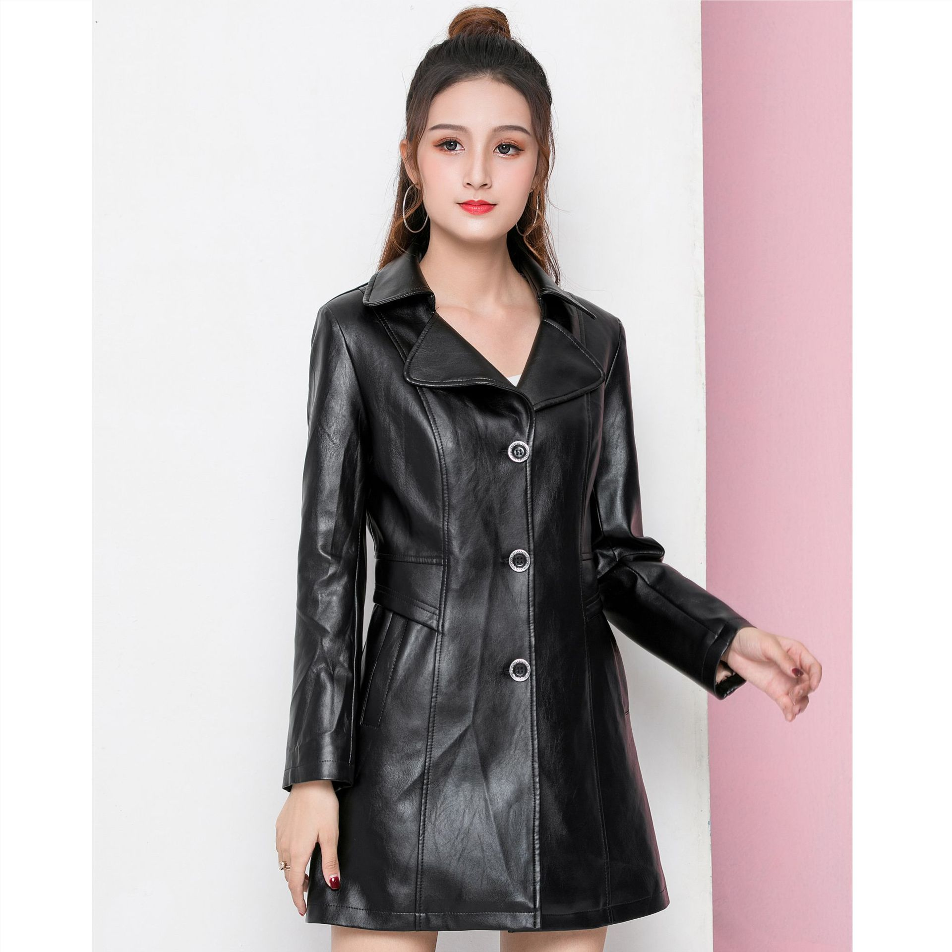 Temperament Korean Style Long Lapel Women's Leather Jacket