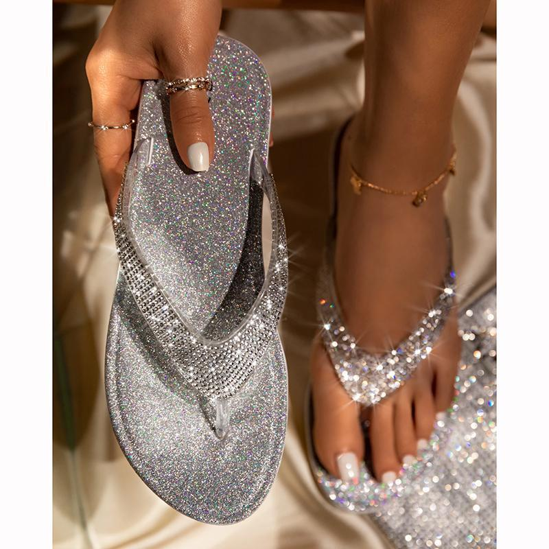🔥Summer promotion 🔥Women's Rhinestone Flat Slippers