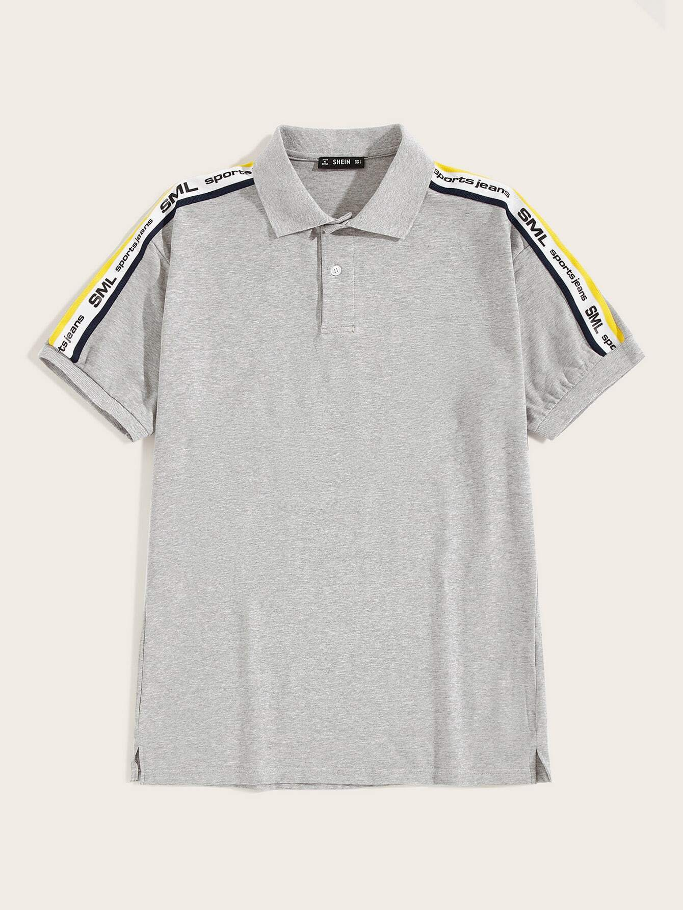 Men Letter Tape Shoulder Polo Shirt