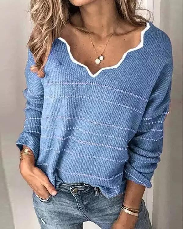 V-Neck Long Sleeve Striped Sweaters