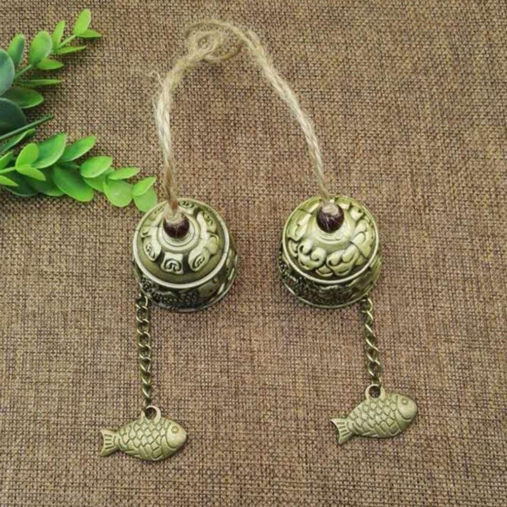 Hanging Car Wind Chimes Fortune Zinc Alloy Wind Bell With Hemp Rope Chinese Dragon/Fish Pattern
