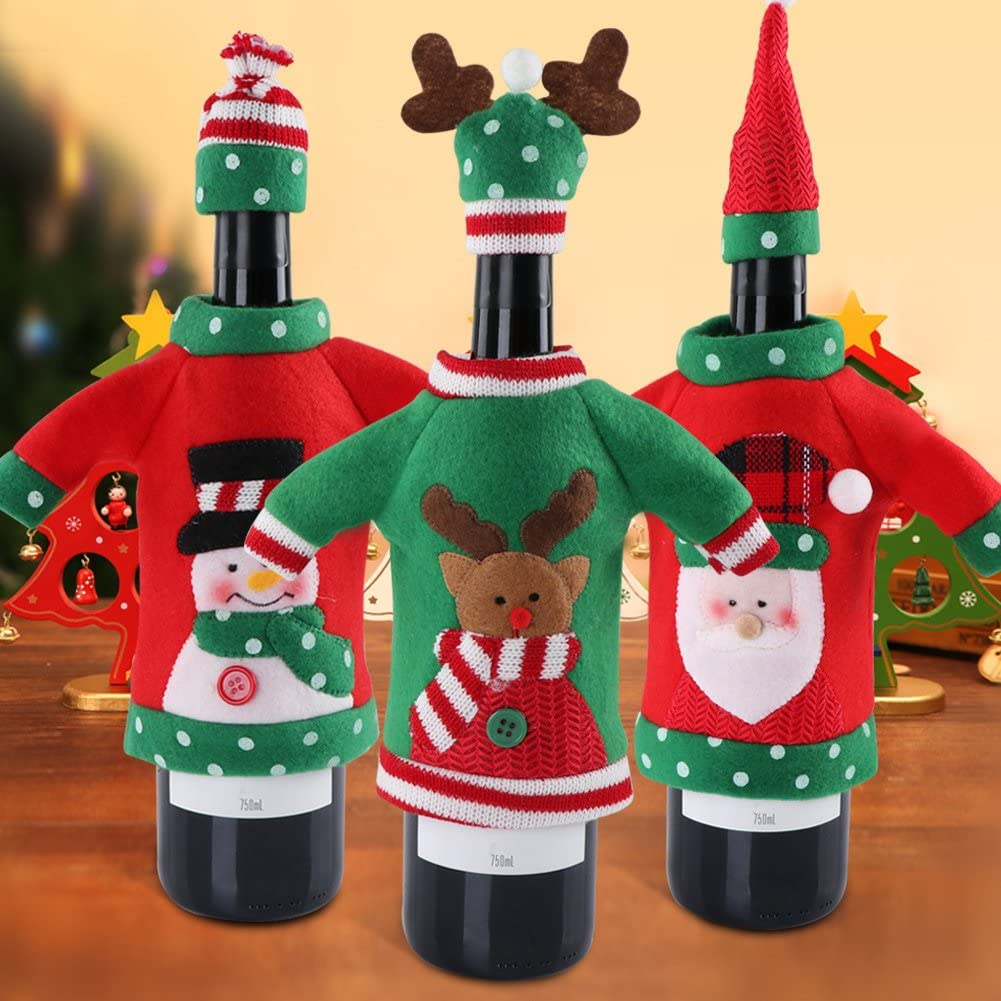 3pcs Ugly Sweater Christmas Wine Bottle Covers