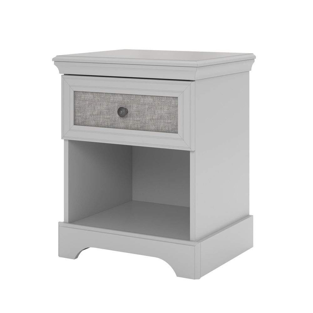 Avenue Greene Fairfield Grey Nightstand with Fabric Insert