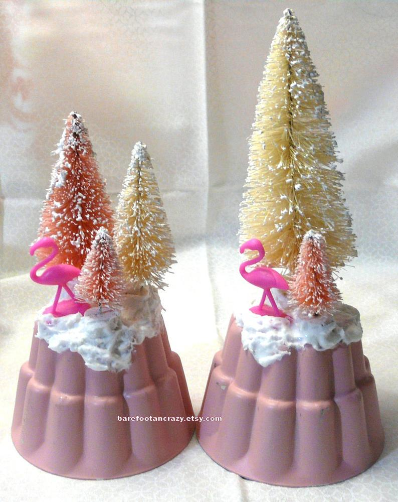 Kitsch Pink Flamingo & Bottle Brush Trees on Vintage Pink Gelatin Mold with Glitter Snow ~ Set of 2 ~ 5