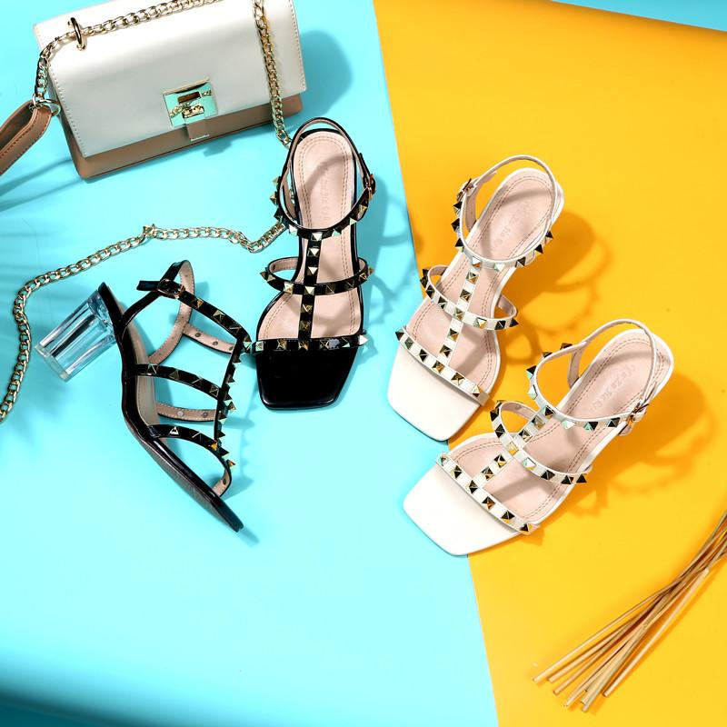 Women Strappy Studded Clear Chunky Heel Sandals